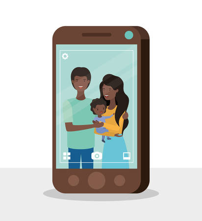 cute afro family members with smartphone vector illustration design
