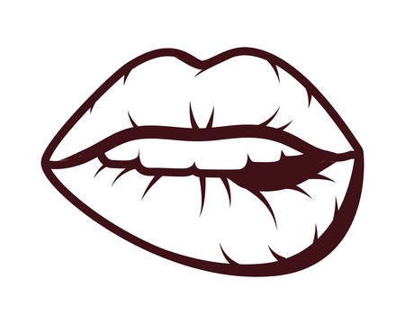 sexy woman mouth pop art style vector illustration design Ilustrace