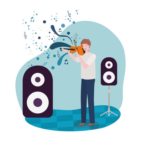 man playing fiddle avatar character vector illustration design