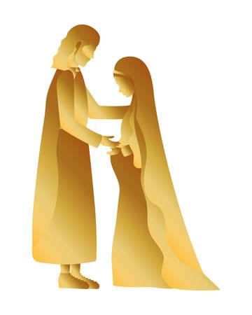 golden saint joseph and mary virgin pregnancy vector illustration Vectores