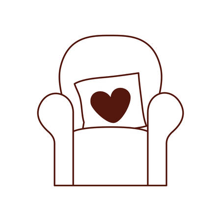 livingroom sofa with love pillows vector illustration design