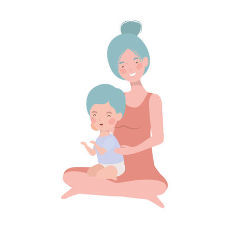 cute pregnancy mother seated with little boy characters vector illustration design