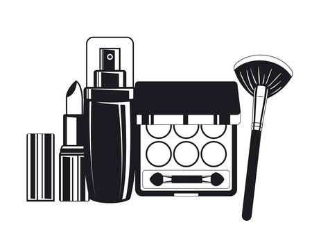 splash bottle with lipstick and shadows make up icon vector illustration design
