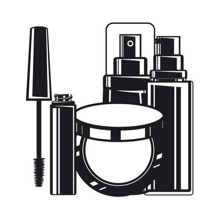 splash bottle and blush make up icon vector illustration design