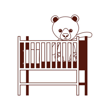 cute bear teddy stuffed in baby cradle vector illustration design