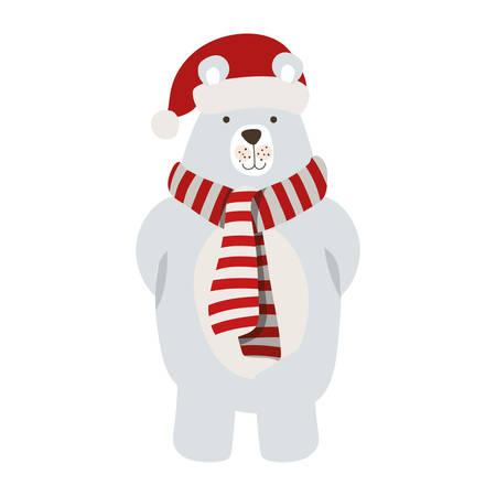 merry christmas polar bear with scarf vector illustration design Vectores