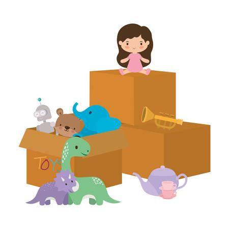 Conception de bande dessinée de fille, jouets d'enfance jouer amusant cadeau de jeu d'enfant et thème d'objet illustration vectorielle