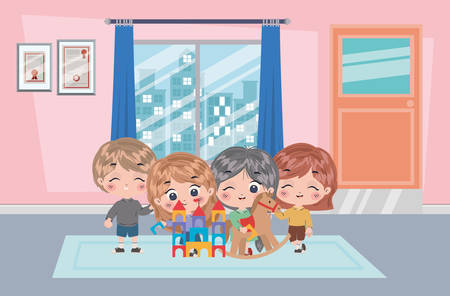 Girls and boy cartoon design, Kids friendship childhood little people lifestyle and person theme Vector illustration