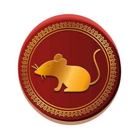 mouse inside seal stamp design, Animal cute zoo life nature and fauna theme Vector illustration