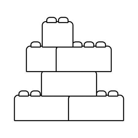 Conception de pièces de lego, jouet d'enfance jouer amusant cadeau de jeu pour enfants et thème de l'objet illustration vectorielle Vecteurs