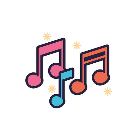 Music note icon design, Sound melody pentagram art and composition theme Vector illustration