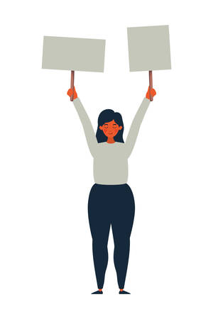 Woman protesting design, Human rights peace freedom international help social law and equality theme Vector illustration Çizim