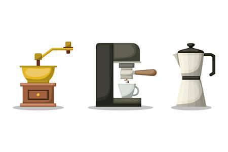 Coffee grinder machine and kettle design, Drink breakfast beverage bakery restaurant and shop theme Vector illustration Illustration
