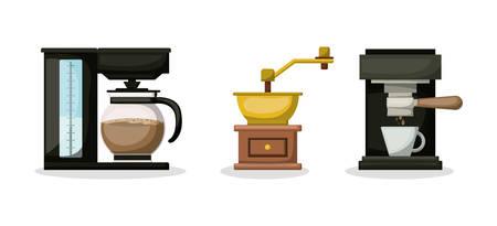 Coffee grinder machine and pot design, Drink breakfast beverage bakery restaurant and shop theme Vector illustration