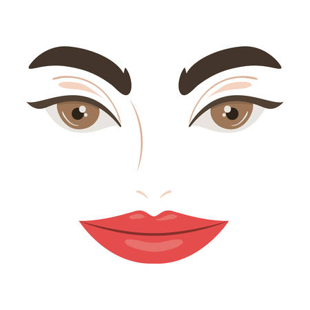Female face design, Expression character caricature facial emotion and human theme Vector illustration