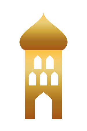 golden tower building isolated icon vector illustration design