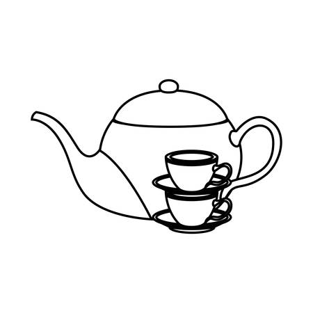 Tea kettle and cups design, Drink breakfast beverage tradition kitchen and aromatic theme Vector illustration