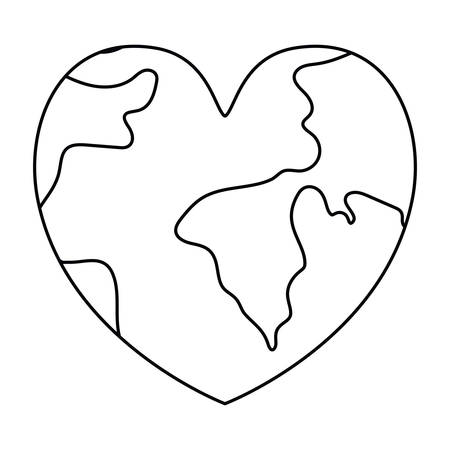 Planet heart design, Continent earth world globe ocean and universe theme Vector illustration