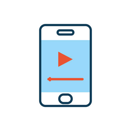 smartphone with media player button vector illustration design