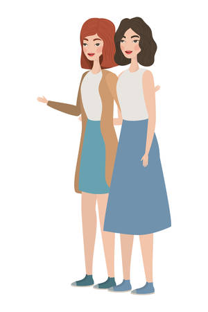 Cute women cartoons drawing design, Girls females person people human and social media theme Vector illustration