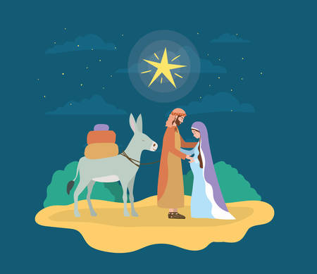 saint joseph and mary virgin with mule characters vector illustration