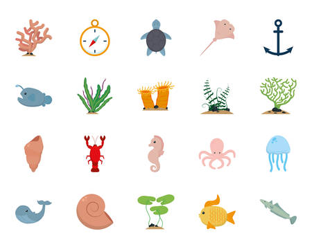 Sea icon set design, Ocean nature beach underwater aquarium and marine theme Vector illustration
