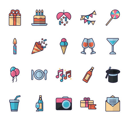 Icon set design, Party festival celebration holiday birthday decoration enjoyment and entertainment theme Vector illustration