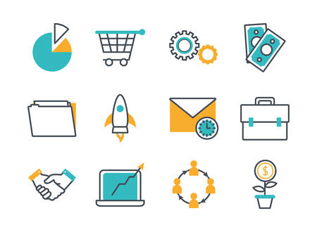 bundle of commerce online set icons vector illustration design
