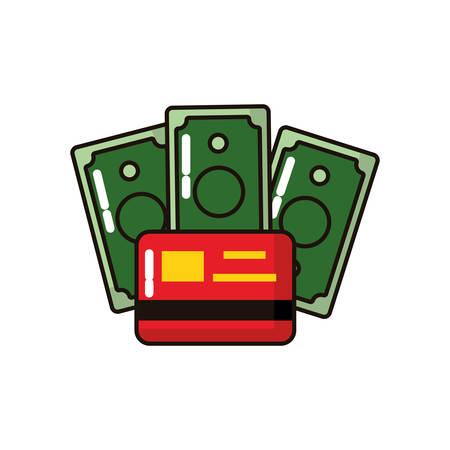 bills money dollars with credit card vector illustration design