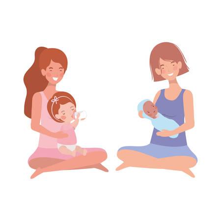 cute pregnancy mothers seated lifting little babies characters vector illustration design Illusztráció