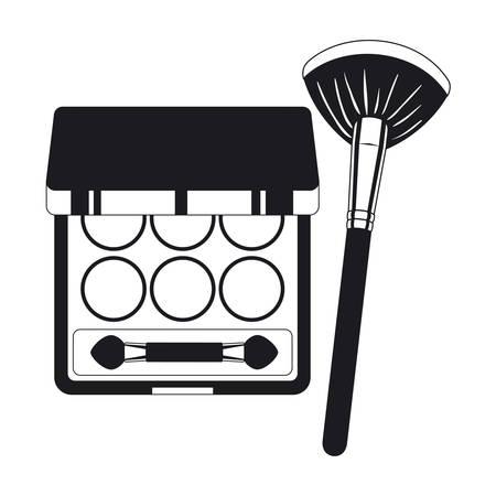 applicator make up thick brush and shadows vector illustration design