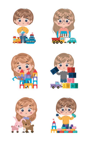 Kids cartoons design, friendship childhood little people lifestyle and person theme Vector illustration