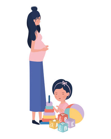 cute pregnancy mother seated with little girl characters vector illustration design Illusztráció