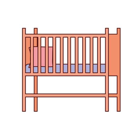 baby cradle wooden forniture icon vector illustration design