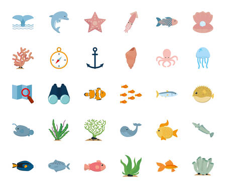 Sea icon set design, Ocean nature beach underwater aquarium and marine theme Vector illustration Foto de archivo - 134548138
