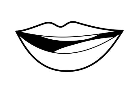 Mouth cartoon design, Smile lips expression character caricature fun and facial theme Vector illustration