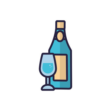 Bottle and cup icon design, Drink beverage liquid menu restaurant store and shop theme Vector illustration Foto de archivo - 134786527