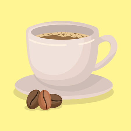 Coffee cup and beans design, Drink breakfast beverage bakery restaurant and shop theme Vector illustration