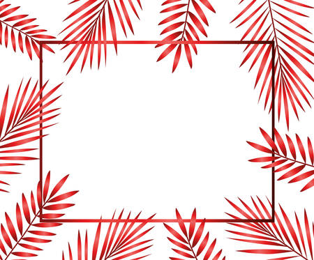happy merry christmas red tree branches frame vector illustration design Standard-Bild - 134828499