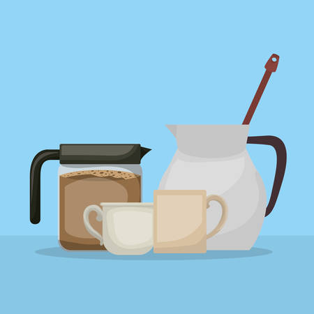 Coffee pot pitcher and cups design, Drink breakfast beverage bakery restaurant and shop theme Vector illustration