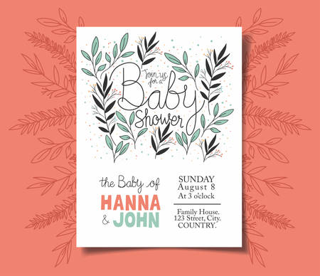 Baby shower invitation with leafs decoration , Party card decoration love celebration arrival and born theme Vector illustration