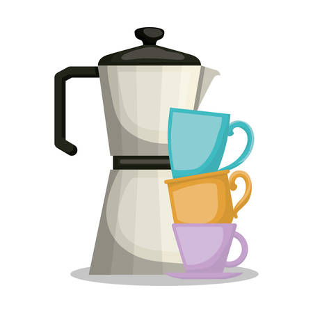 Coffee kettle and cups design, Drink breakfast beverage bakery restaurant and shop theme Vector illustration