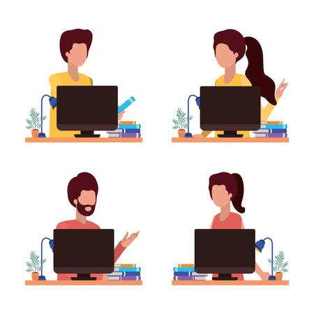 People avatars with computers design, Male female Person human profile user theme Vector illustration