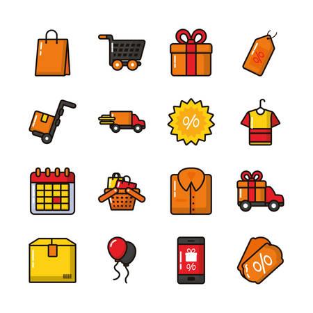 bundle of commercial set icons vector illustration design Standard-Bild - 134856907