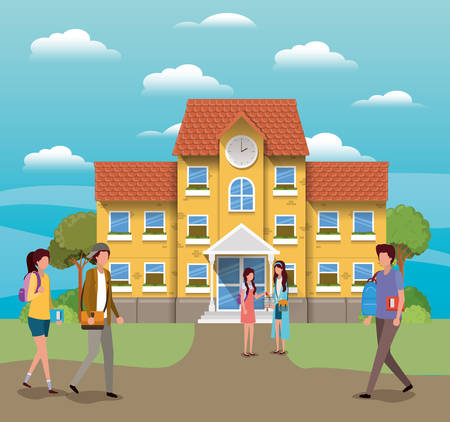 School building and students design, Education lesson study learning classroom and information theme Vector illustration