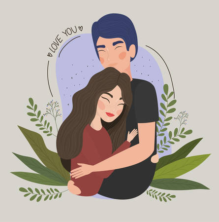 Couple of woman and man drawing design, Relationship valentines day love romance holiday and together theme Vector illustration