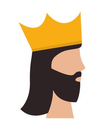 Man head with royal crown design, King luxury jewelry insignia emperor and authority theme Vector illustration Stock Illustratie