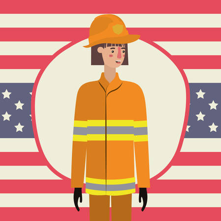 Firefighter woman design, Labor day usa america september national holiday and celebration theme Vector illustration