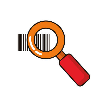 magnifying glass with bar codes icons vector illustration design Çizim