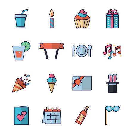 Icon set design, Party festival celebration holiday birthday decoration enjoyment and entertainment theme Vector illustration